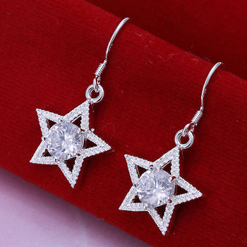 free shipping new arrival high quality rhinestone silver plated star pendant drop earring LKNSPCE136