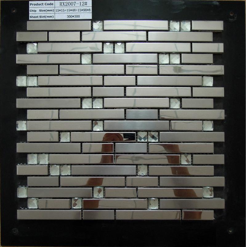 stainless steel metal tile mosaic kitchen backsplash