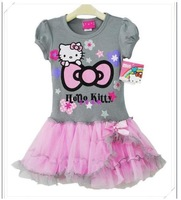 Retail girl hello kitty cute dress kids tutu dresses for girl high quality