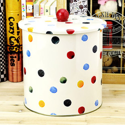 Free shipping Box multicolour polka dot sealed cans circle rustic fresh candy cookie jar dry storage box(China (Mainland))