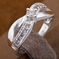 R162  Wholesale 925 silver ring, 925 silver fashion jewelry,  Austrian Crystal   Inlaid Blue Stone Ring Finger, Ring