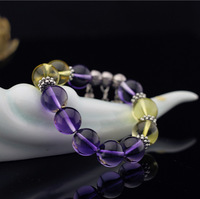 Natural amethyst crystal bracelet yellow 5a - glass kind bracelet lucky