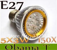 New Arrival  150X Par20 Led Lamp E27  Dimmable 5X3W 15W Spotlight Led Light Led Bulbs 85V-265V Energy Saving Free shipping