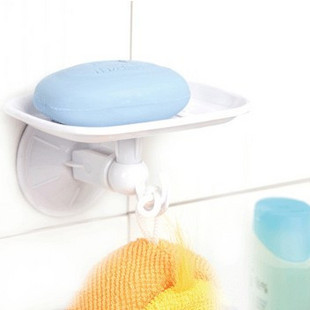 free shipping Shuangqing suction wall single hook soap holder soap dish soap box plastic soap dishes(China (Mainland))