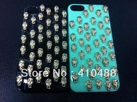 100% Handmade Luxury  New Fashion Pretty  Gold Skull Hard Back Cover Skin Case For iPhone 4 4S 4G 5G with gift,free shipping