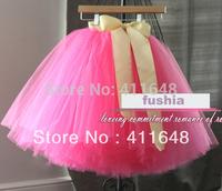 NEW Womens Gauze Tulle Balley Pincess Colorful TUTU Skirt Fushia Belt Free Shipping Wholesale & Retail