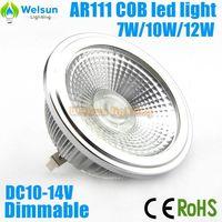 6X High power Dimmable AC/DC 12V 7W/10W/12W AR111 COB LED Lamp G53 LED Light Bulbs Warm Cold White