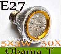 New Arrival  50X Par20 Led Lamp E27  Dimmable 5X3W 15W Spotlight Led Light Led Bulbs 85V-265V Energy Saving Free shipping