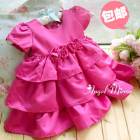 Hot sale Birthday baby formal dress Rose flower princess girls dresses fashion layered cake dress for 3 months-4T girl free ship