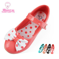 2013 girls child leather shoes spring and autumn single shoes female child leather bow
