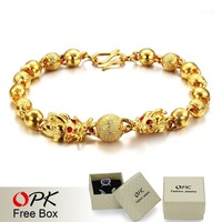 OPK JEWELLERY cool 18K GOLD GP BRACELET chain bracelets New Arrivel Bracelet bead Jewelry 366