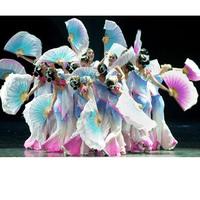 Fan double faced two-color blue big yangko fan jasmine gradient dancing fan