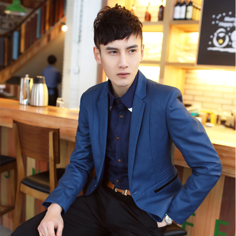 Original design 2013 spring cool casual solid color high quality suit fashion men slim outerwear(China (Mainland))