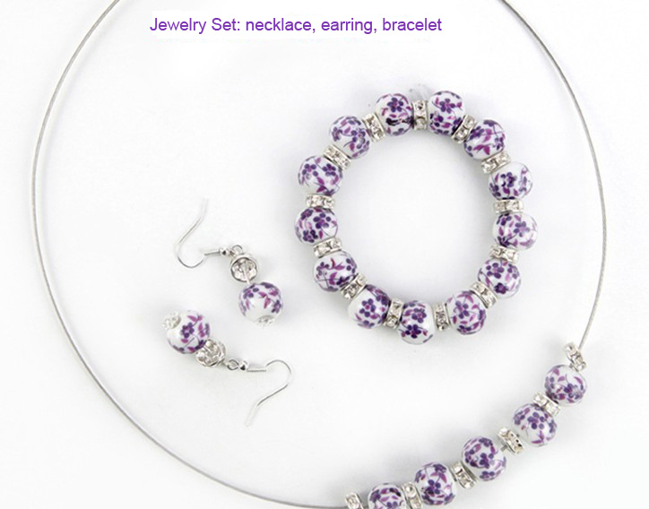 Min.order $15(mix order) Wholesale Traditional Purple Porcelain Bead Necklace Earring Bracelet jewelry Sets Free Shipping CT0002(China (Mainland))
