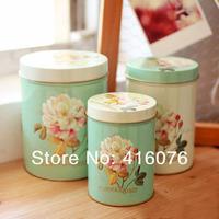 Free Shipping! 3pcs/lot Europea Style Rose Design Cookie Creative Storage Case Tin Box Set T1001