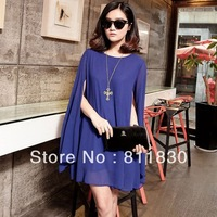 Free shipping high quality 2014 summer new women's solid color sweet lady pearl chiffon cape dress
