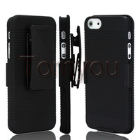 New Black Rotate Stand Holder Belt Clip Holster Hard Skin Full Case Cover For Apple iPhone 5 5S Free Shipping