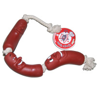 2013 New Dog Toy Vinyl 3 Sausages Chew Bite cotton Rope Toys Pet Training Toy Free Shipping