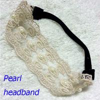 12pcs Free shipping !HOT women's fashion lace 8mm Pearl headband Elastic hair band 6.3cm wide