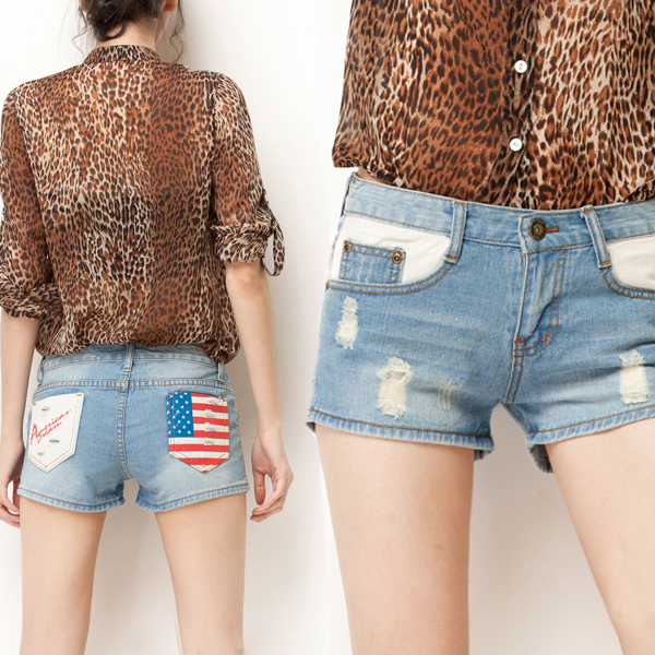 2013 Spring women&#39;s washed vintage patchwork America flag pocket denim shorts pants girl&#39;s low waist ripped hole short jeans(China (Mainland))