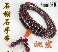 Free shipping,2013 Natural garnet hand string,( Authority appraisal certificate),6mm 108 beads bracelet