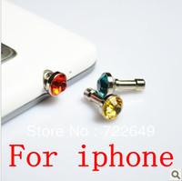 Free shipping 500pcs wholesale diamond Earphone Headphone anti Dust plug dust Cap for iphone 4 4s for 3.5mm plug mobile phone