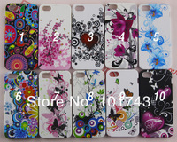 Wholesale 10pcs/lot , High Quality Flower Butterfly Colorful Priinting Soft Gel TPU Case for iPhone 5 5G Free Shipping CPAM