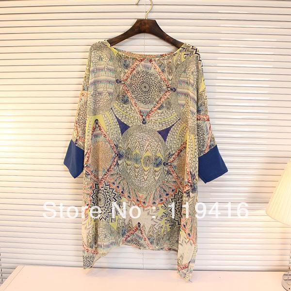 new fashion print batwing sleeve loose oversized shirt chiffon shirts