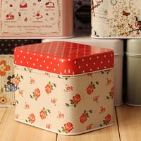 Fashion home retro style storage box  tin square organizer box for needlework wholesale free shipping