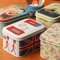Europe style square tin candy box storage bin box for keys free shipping  10*8*6cm wholesale
