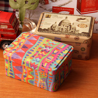 Colorful metal candy storage boxes tin box caskets unique design free shipping 12.3*9*6cm