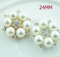 Free Shipping!50pcs/lot (LO-021 24MM) metal rhinestone pearl cluster button wedding embellishment garment DIY hair accessory