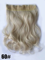 "Light blonde #60, 22"" 100G Silky Wavy Remy Clip in 93% human hair extensions ,straight 5 clips a set ,free shipping"