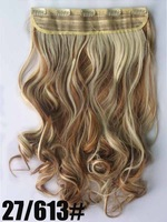 "Mixed color #27/613, 22"" 100G Silky Wavy Remy Clip in 93% human hair extensions , 5 clips a set ,free shipping"