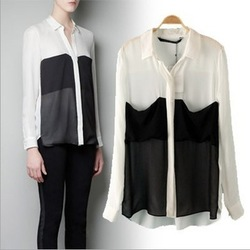 2013 New fashion women's classic black white patchwork blouses high quality casual loose shirt big pockets business attire shirt(China (Mainland))
