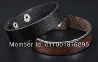 LOT 2PCS 1.6CM SIMPLY COOL SINGLE BAND GENUINE LEATHER BRACELET WRISTBAND  CUFF MEN'S UNISEX