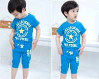 5sets new fashion 2013 Boy Girl Summer Suit Kids baby Cotton sports casual Clothing Sets Children T Shirt + short Pants