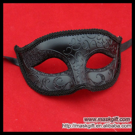 EMS Free Shipping 100% Handpainted Venetian Style Halloween Masquerade Mask Black Unisex Half Face Plastic Mask F002(China (Mainland))