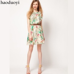 Women's chiffon dress with printed and ruffles neck for freeshipping(China (Mainland))