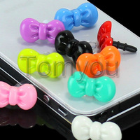 New Fashion 10x Universal Earphone Glossy Bowknot 3.5mm Dustproof Plug Cap Dock Anti Dust For Apple iPhone 4 4S 5G Free Shipping