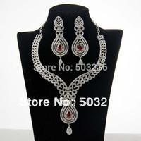 High Quality Clear Crystal Rhodium Plated Ruby Zircon Indian Bridal Wedding Jewelry Set