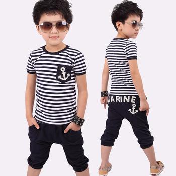 5 set/lot 2013 HOT Selling Children Kids Clothing Boys T shirt + Pants Summer Wear Fashion Design