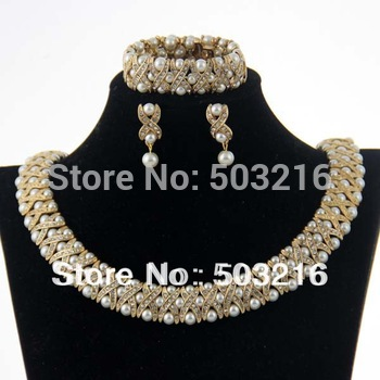 Free Shipping High Quality Clear Crystal 18 K Gold Plated Indian Style Pearl Bridal Jewelry Set