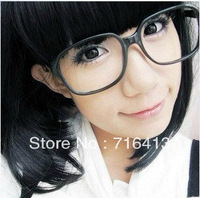 Free Shipping Oversized Tortoise Shell thin edge Retro Nerd Geek Black Clear Lens Plain Glasses  College style #1447