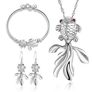 925 sterling silver jewelry sets 3pcs/sets, female drop earrings & bracelets & ...