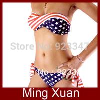 Free Shipping 2014 Summer Fashion Ladies' Sexy Stars and Stripes USA Flag Bikini 1set/lot