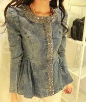 2014 spring and autumn zipper fashion diamond o-neck denim outerwear female long-sleeve slim 661