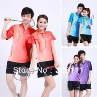 Free shipping new badminton clothing men and women suit couple Sportswear T-shirts and shorts high quality quick-drying material