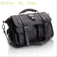 2014 women leather habdbags 2013 female fashion rivet skull women's handbag shoulder bag messenger  women  free shipping