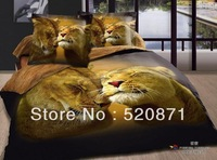 Oil painting personalized quilt set 3d activated animal, tiger, leopard pattern 100% cotton bedding set 4 pcs free shipping